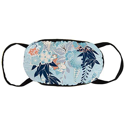 Stofvervuilingsmasker, Japans Kimono Motief met Kraan en Bloemen, Zwart Oor Pure Katoen masker, Geschikt voor Mannen en Damesmaskers