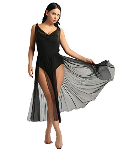 CHICTRY Damen Balletkleid V-Ausschnitt Tanzkleid Lang Ärmellos Ballettanzug Turnanzug Latin Rumba Tango Salsa mit Transparent Rock Tanz-Body Schwarz S