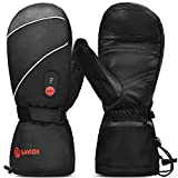 SAVIOR HEAT Electric Heated Mittens Rechargeable Battery Powered Thermal Ski Glove Men Women