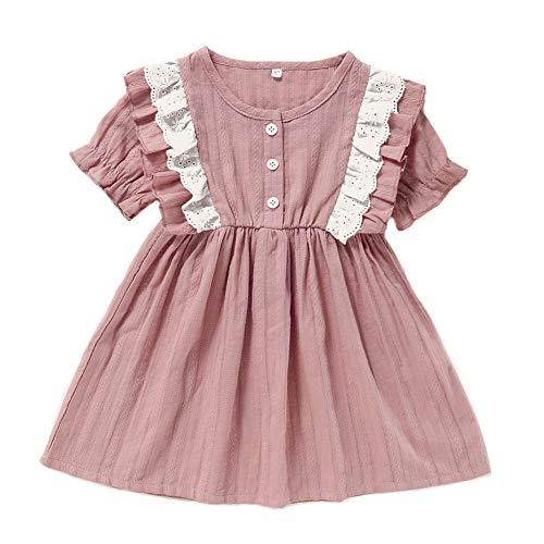 Anmino Neugeborenes Baby Mädchen Kleid Kleinkind Baby Mädchen Rüschen Spitze Prinzessin Sommerkleid Kurzarm Baumwolle Kleid Sommer Outfits