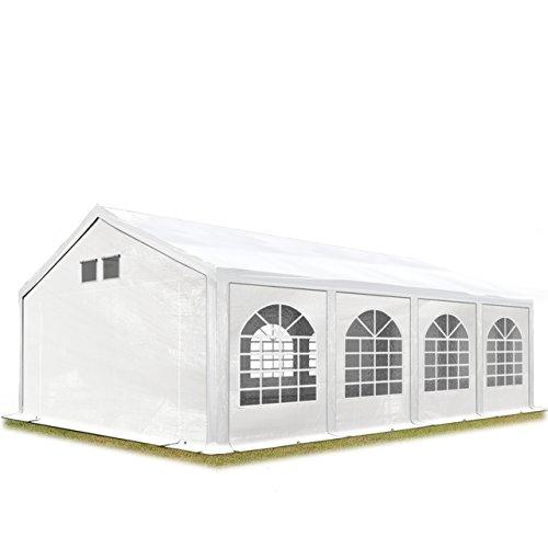 TOOLPORT Partyzelt Festzelt 4x8 m in weiß Professional ca. 300 g/m² PE Plane Wasserdicht UV Schutz mit BODENRAHMEN Gartenzelt