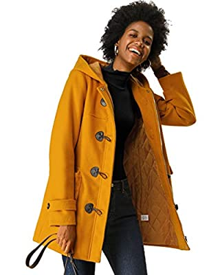 Allegra K Women's Casual Winter Outwear Hooded Button Toggle Coat Mustard Yellow L (US 14) from Allegra K