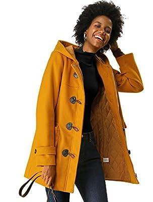 Allegra K Women's Casual Winter Outwear Hooded Button Toggle Coat Mustard Yellow M (US 10) from Allegra K