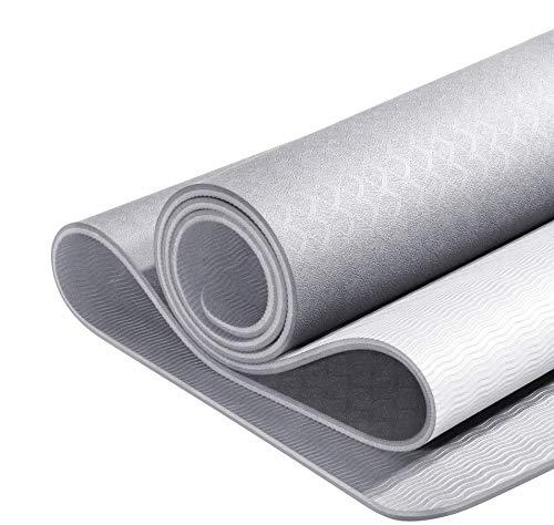 YUNMAI TPE Tappetino da Yoga con Borsa 6mm Tappetini per Pilates Antiscivolo a Doppia Faccia di Alta qualità Tappetino per Esercizi ad Aderenza Allenamento Ecologici Palestra Esterna 183 X 61 X 0,6