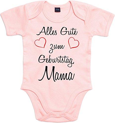 Mister Merchandise Baby Body Alles gute zum Geburtstag, Mama Strampler liebevoll bedruckt Glückwunsch Rosa, 0-3