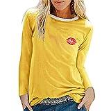 PRJN Ropa de Mujer Sudadera Mujer Labios Rojos Pullover con Estampado gráfico Tops Lindo Jersey de Manga Larga Patchwork Cuello Redondo Fino Blusa con Cuello Redondo Camiseta Elegante Corte Entallado