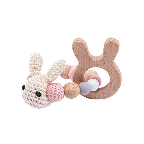 Mamimami Home 1pc Beißring Holz Baby Spielzeug Holz Baumwolle Häkeln Sie Häschenkopf Beißring Baby Armband Beißringe für Baby Greiflinge für Babys Kinderspielzeug