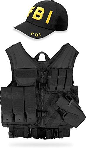 normani Taktische FBI Einsatz Weste mit Pistolenholster und FBI Cap Tactical Vest