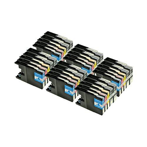 Logic-Seek 30er Set Tintenpatronen kompatibel für Brother LC1240 LC1280 XL, 12x BK 30ml,6X je Farbe 23ml, kompatibel für LC-1240XL