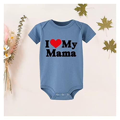 FURONGWANG6777BB I Love Papa/My Mama Letras Impresión Pequeño Mameluco Bebé Chicas Niños Mono Ropa Atuendos Verano (Color : RW93-A003BU-, Kid Size : 3M)
