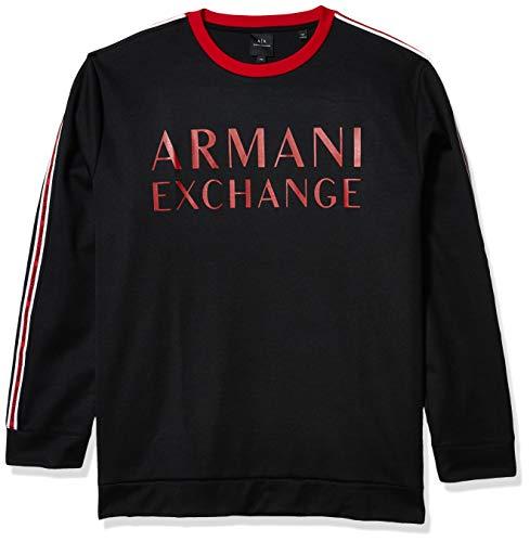 Armani Exchange Sweat col Rond à Bandes côté Noir