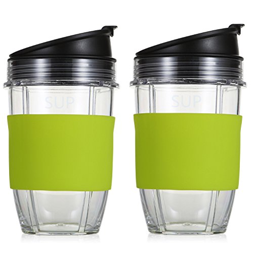 2 Pack Replacement Parts for Nutri Ninja Blender by KORSMALL, 18oz Multi-Serve Cup and Sip & Seal Lid with Silicone Sleeve for Nutri Ninja Blender Auto IQ 1000w (GREEN)