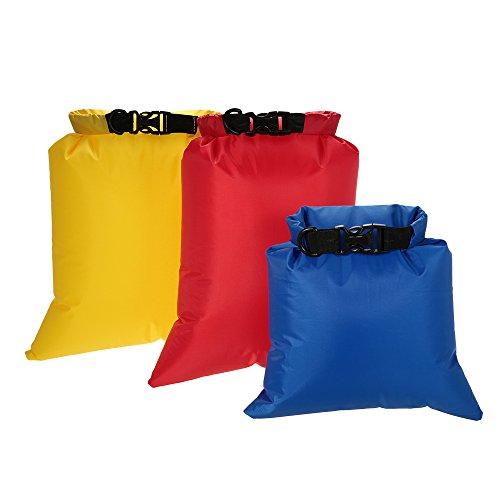 Docooler Confezione da 3 sacchetti impermeabili (3L + 5L + 8L) Sacchi asciutti ultraleggeri per campeggio 3 Parti (3L + 5L + 8L) 1