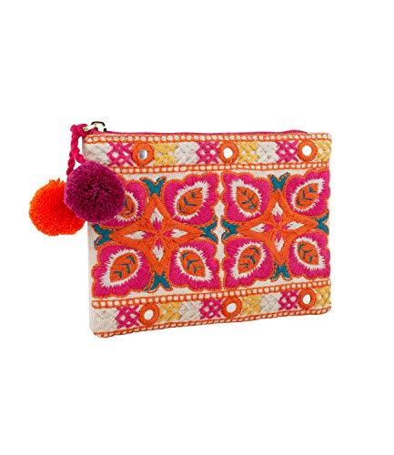 SIX Stoff-Portemonnaie mit bunten Stickereien im trendigen Ethno-Look (703-621)