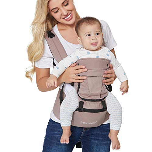 Baby Carrier Hip Seat 100% Cotton - Pocket & Removable Hoodie/Head Support - Adjustable & Breathable - Neotech Care Brand - for Infant, Child, Toddler (Grey Beige)