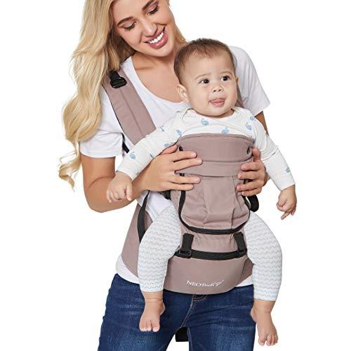 Neotech Care Babytrage & Hüftsitz - 100% Baumwolle - Tasche & abnehmbare Kopfstütze - verstellbar & atmungsaktiv - Für Neugeborene, Babys, Kleinkinder (Grau)