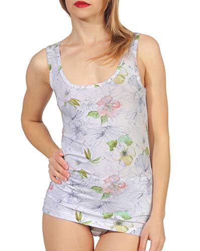 Pompadour Damen Achseltop Shirt ohne Arm Viskose mit Elasthan Unterhemd Bedruckt Größe 40