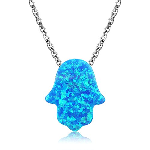 Hamsa Hand of Fatima Pendant Necklace Sterling Silver 925 Synthetic Opal 16'+2' Cable Chain(Blue)