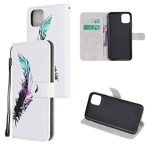 Funda de piel de grano cruzado compatible con iPhone 13, funda protectora con ranuras para tarjetas, parachoques con cierre magnético pintado con función atril para iPhone 13, modelo 1