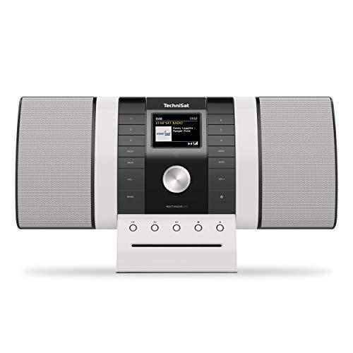 TechniSat MULTYRADIO 4.0 - Internetradio (WLAN Radio, DAB+, UKW, Alexa Sprachsteuerung, Spotify, Bluetooth, CD-Player, USB, Farbdisplay, Musikstreaming, 2 x 10 Watt Stereo Lautsprecher) schwarz/weiß