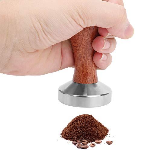 Felenny Kaffee-Stampfer Kaffeepulver-Stampfer Kaffee-Press Hammer Hammer Edelstahl Flache Basis mit Holzgriff Kaffee Liefert 51Mm Gewinde Unten