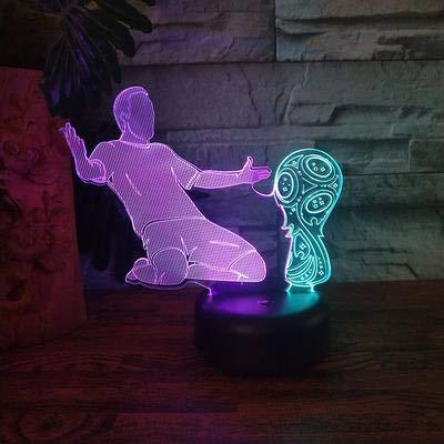 (Solo 1) Jugador de fútbol Luz nocturna LED Decoración de dormitorio universitario Luz LED 7 Cambio de color Luz nocturna Lámpara de mesa Regalo para niños Regalo de cumpleaños Decoración