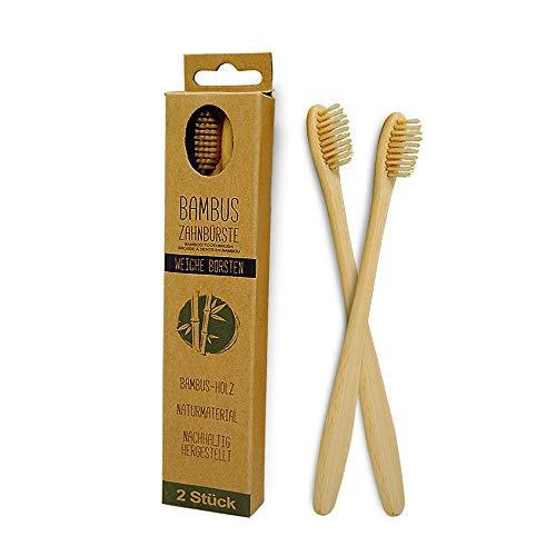 BambusEngel Bambus Zahnbürste 2er Set weiche Borsten ohne Plastik | Zahnbürsten aus Holz mit Naturborsten | Plastikfrei nachhaltig zero waste bamboo toothbrush