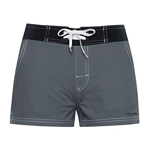 Meegsking Women Quick Dry Swimwear Trunks Sports Board Shorts with Soft Briefs Inner Lining Grey