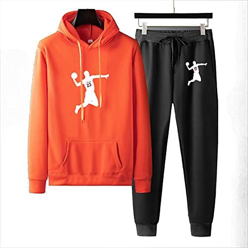 Trainingsanzug Männer, Jordaner Hoodie Und Jogginghose, 75% Polyester Schnelltrocknen Und Elastisch, Geeignet Für Joggen Und Fußballtraining (S-3XL) orange-3XL