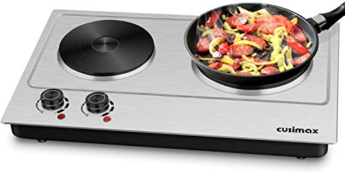 Cusimax Hot Plate, 1800W Electric Double Burner Countertop Cast Iron Heating Plate, Indoor& Outdoor Portable Stove with Adjustable Temperature Control, Compatible w/All Cookware, Stainless Steel Surface Easy to Clean - Upgraded Version