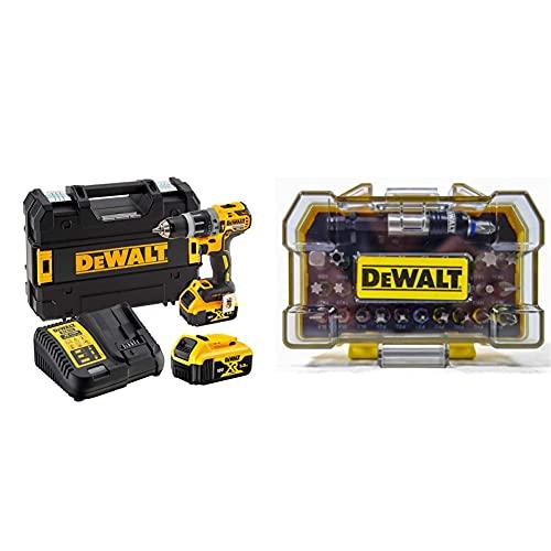 DeWalt Dcd796P2-Qw Trapano Avvitatore, A Percussione, 2 Velocità & Dt7969-Qz Set Avvitatura Composto Da 32 Pezzi Assortiti, Adattatore Magnetico 1/4'
