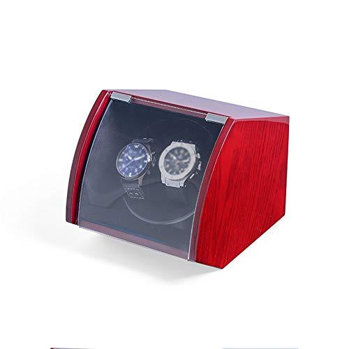 Jlxl Enrollador Reloj Doble, para Relojes Automáticos, Exterior Pintura Piano Shell Madera, Almohada Felpa Flexible, Rojo y Azul Accesorios (Color : Red)
