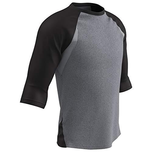 CHAMPRO Extra Innings 3/4 Sleeve Polyester Baseball Shirt, Adult Large, Grey, Black Sleeve