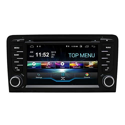 SWTNVIN Autoradio stereo per auto Android 10.0 compatibile con lettore DVD Audi A3 da 7', touch screen HD, navigatore GPS con Bluetooth WiFi, controllo al volante 2GB+16GB