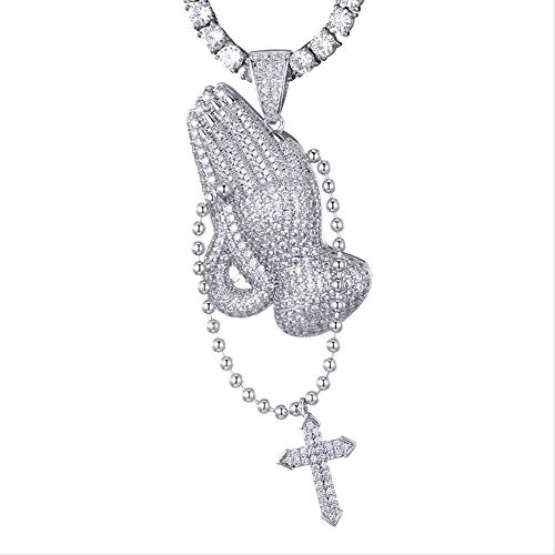 N-G Hip Hop Cubic Zirconia Iced Out Praying Hands Cross Necklaces & Pendants For Men Jewelry With Tennis Chain