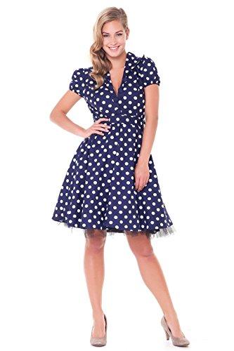 Alpenmärchen, Rockabilly Kleid Petticoat 50er Jahre Tanzkleid Retro Vintage Polka Dots, Grosse Punkte, dunkelblau, Gr. 60, RB05