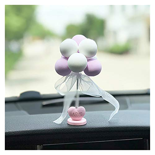 Srfghjs Car decoration Car Ornaments Nodding Balloon Car Dashboard Decor Spring Shaking Head Toys Bobblehead Pink Car Accessory (Color Name : Purple white)