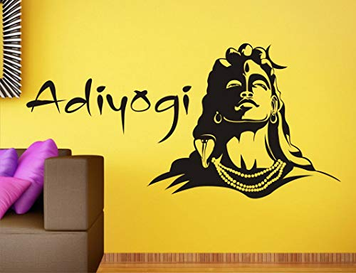 Wall guru Lord Shiva and adiyogi Religious Black Wall Sticker Size(59 * 69) cm