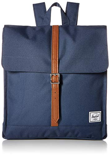 Herschel Supply Co. Rucksack City Mid-Volume, Marineblau/hellbraunes Kunstleder (Blau) - 10486-00007-OS