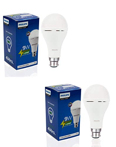 Philips Inverter Bulb 9 Watt Rechargeable Emergency LED Bulb for Home, Pack of 2, Cool Daylight, Base B22