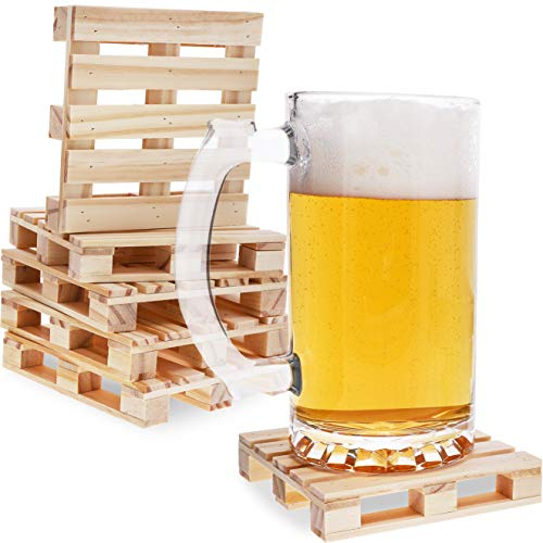 Juvale 6-Pack Mini Wooden Pallet Beverage Coasters for Hot...