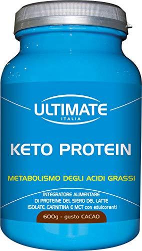 Keto Protein – Proteine Del Siero Del Latte, Carnitina, MCT - Whey Isolate Microfiltrate – Dieta Chetogenica Per Perdita Di Peso – Con Zinco e Vit. Gruppo B - Gusto Cacao – 600 g - Ultimate Italia