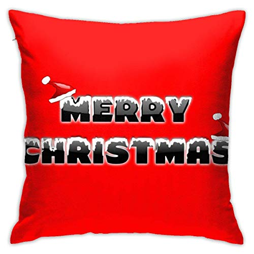 Hdadwy Soft Decorative Square Throw Pillow Covers Merry Christmas Hat Cushion Cases Pillowcases for Sofa Bedroom Car 18 X 18 Inch No Pillow Insert