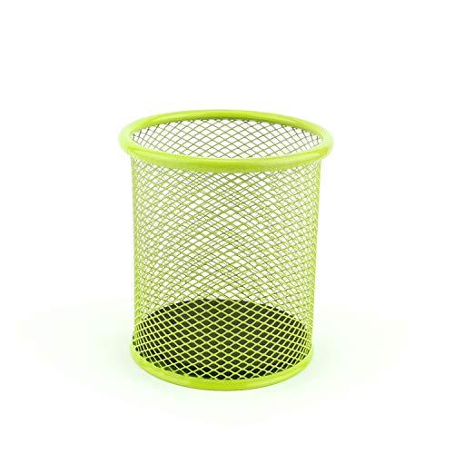 LEVIATAN Portapenne in rete metallica | Portamatite da scrivania | di forma rotondo | Ø 91mm | colore: lime