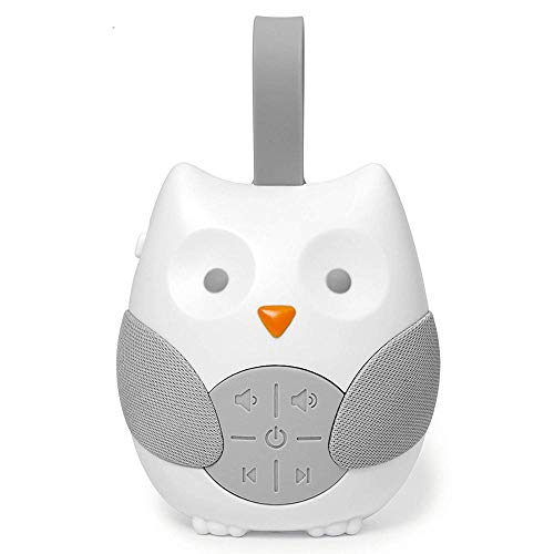 Baby Sleep Cartoon Owl White Noise Machine Soothers Sound Record Voice Sensor with 12 Soothing Sound Auto-off Timer Baby Monitor (White)