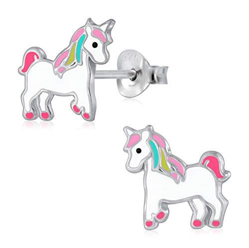 Laimons Pendientes infantiles con diseño de unicornio, color blanco, rosa y amarillo, plata de ley 925