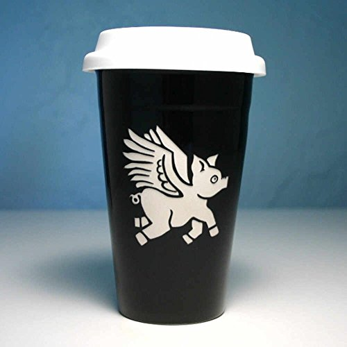 FLYING PIG Travel Mug - BLACK - Double Wall Ceramic Stoneware