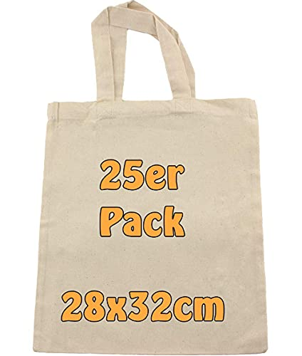 Cottonbagjoe Sac en coton à peindre avec anses courtes 28 x 32 cm Format A4 Sac en tissu pour loisirs créatifs Sac cadeau