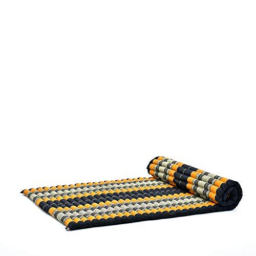 LEEWADEE materassino thailandese Arrotolabile, L: Tappeto per Dormire, Spessa stuoia da Massaggio, Strumento Ecologico in kapok, 200 x 105 cm, Arancione Nero