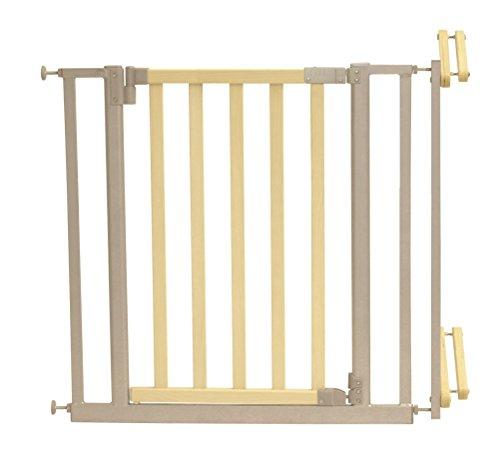 Roba 1548 - Treppenschutzgitter Metall/Holz, Verstellbreite 81-90 cm, Tür mit einem Handgriff zu öffnen, natur/silber